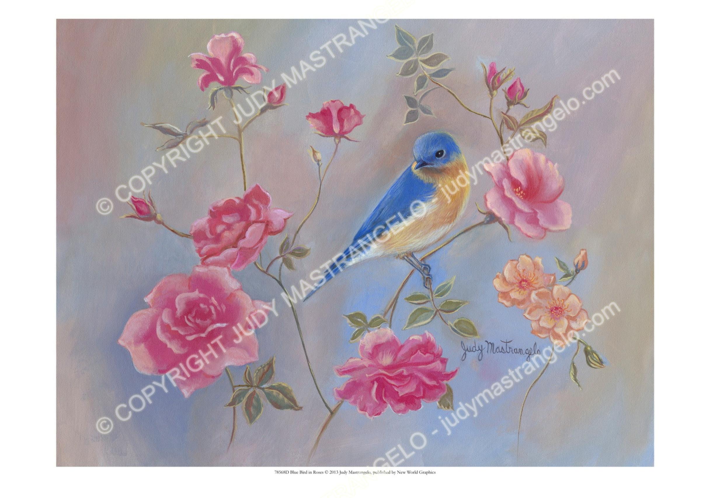 78568D Blue Bird in RosesOverlay